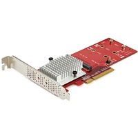 StarTech.com Dual M.2 PCIe SSD Adapter Card - x8 / x16 Dual NVMe or AHCI M.2 SSD to PCI Express 3.0 - M.2 NGFF PCIe m-key Compatible - Dual M.2 PCIe SSD adapter to
