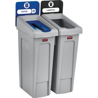 Rcp2007915 Rubbermaid Commercial Slim Jim Recycling Station Hinged Lid Rectangular Durable Vented 40 3 Height X 24 Width Resin Gray Black Blue Office Supply Hut