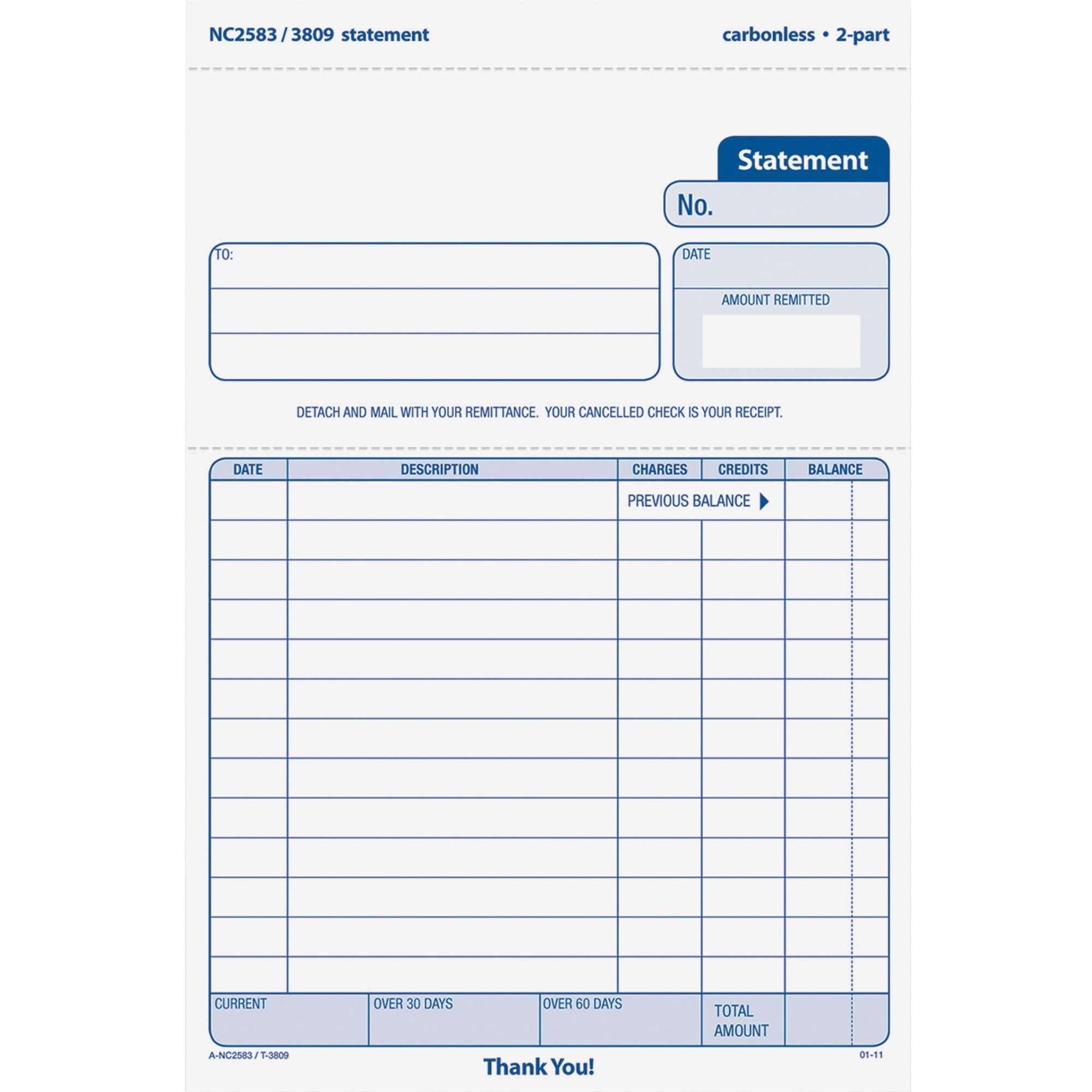 """Carbonless 3 Part Tops Purchase Order Form top3821 7/"""" X 8.50/"""" Sheet Size"""