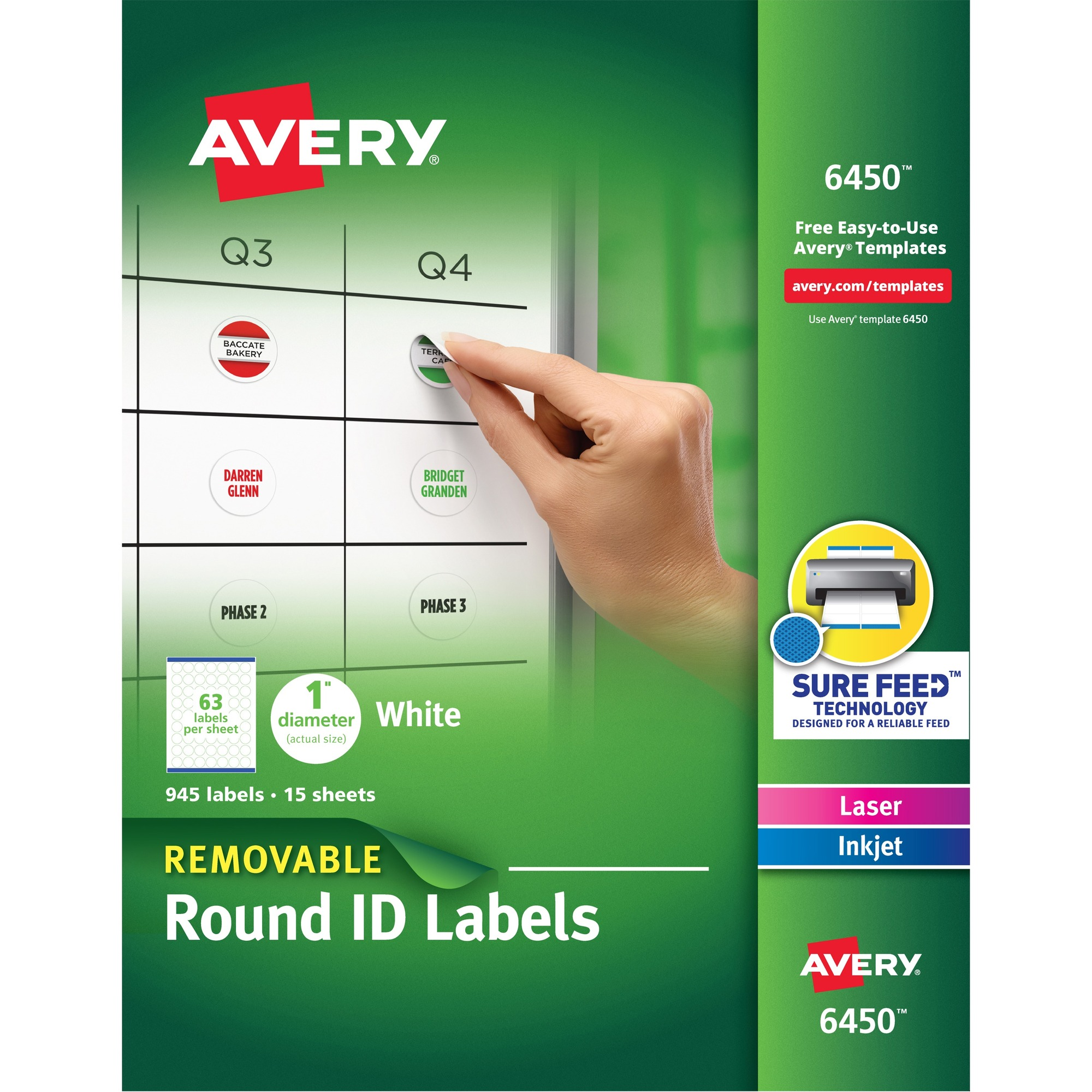 Avery White Round High Visibility Labels Permanent Adhesive Length