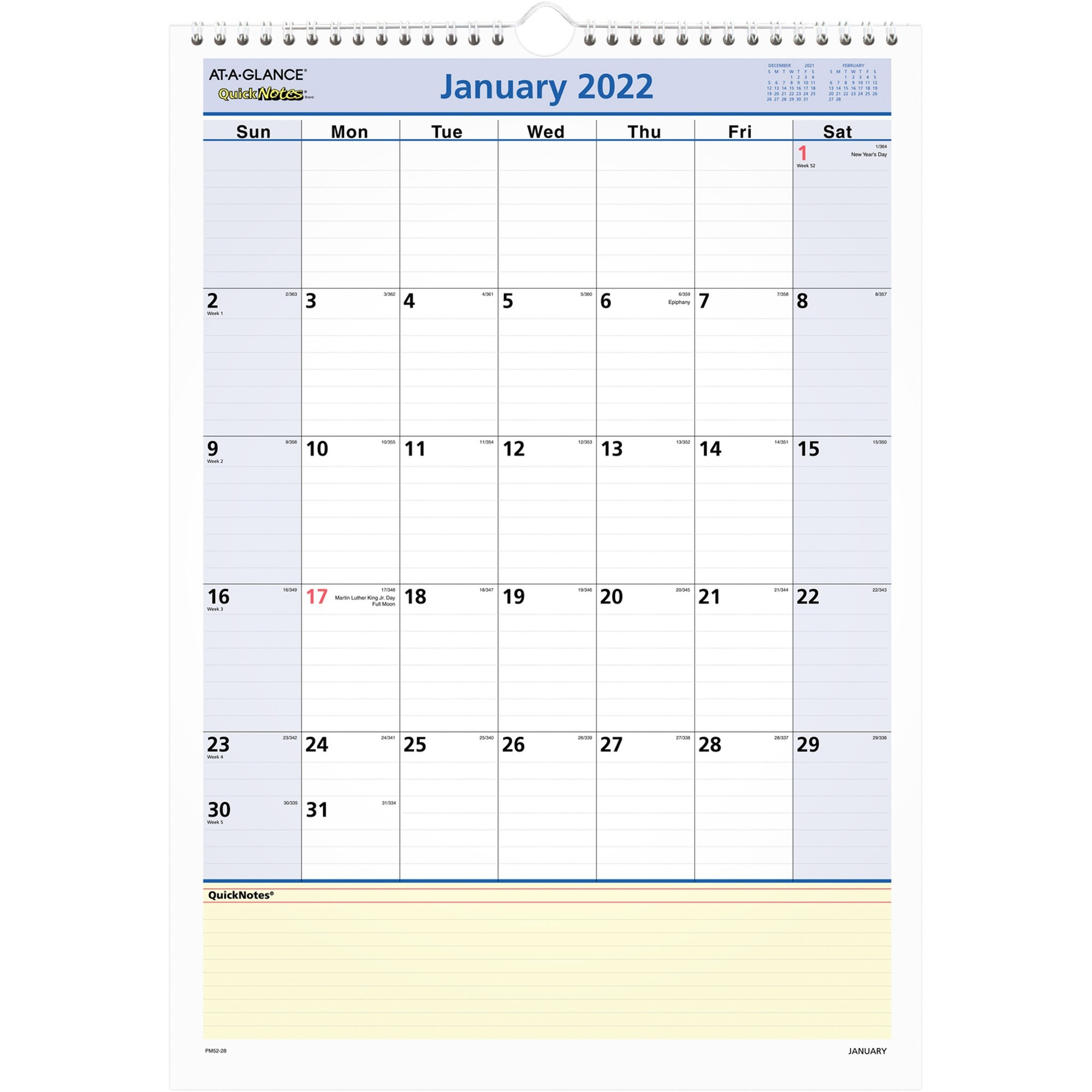a5819d3ae9a At-A-Glance QuickNotes Monthly Wall Calendar - Yes - Monthly - 1 ...