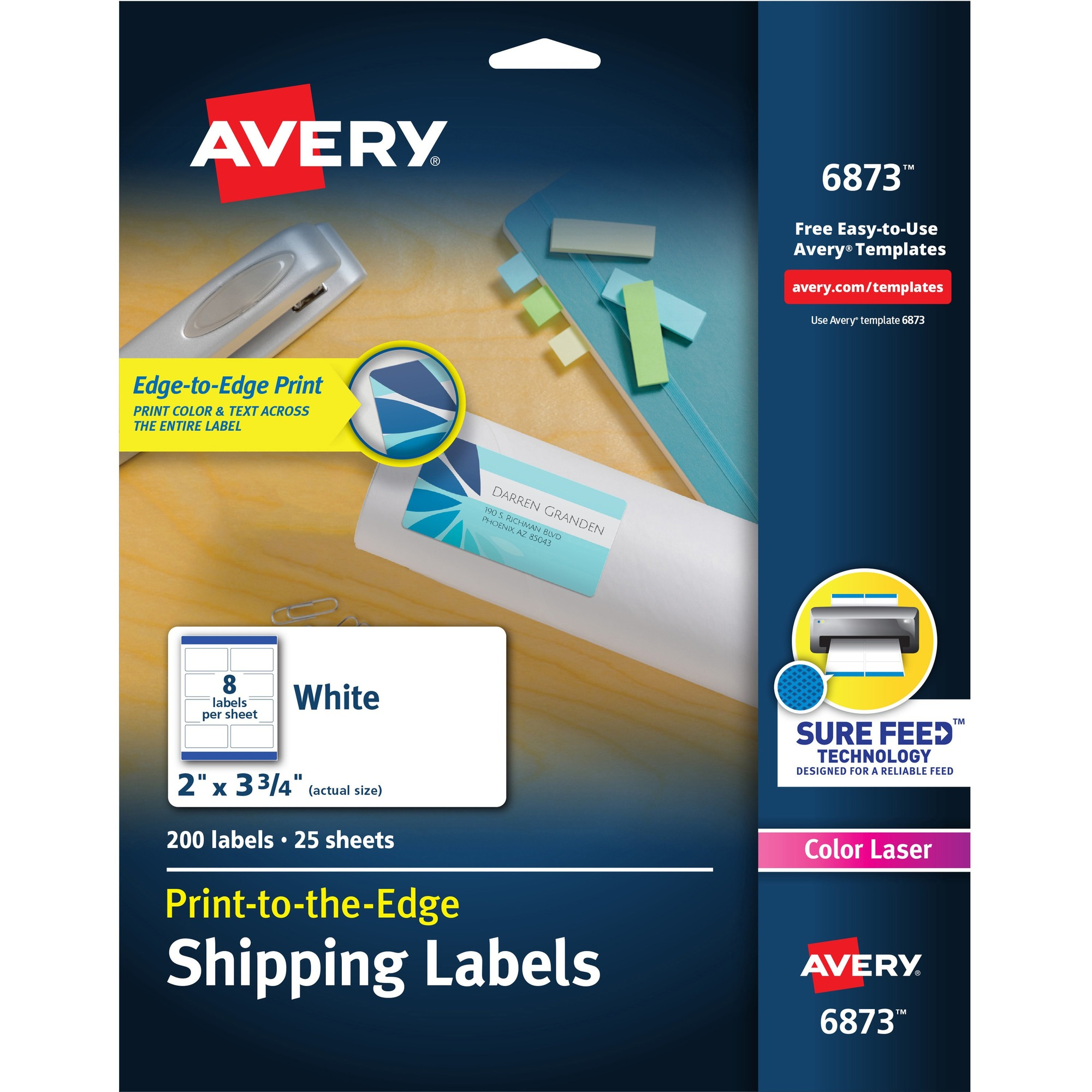 avery white print to the edge shipping labels 3 3 4 width x 4 3 4