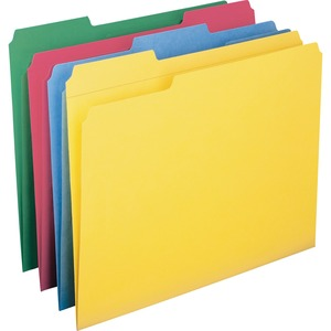 """Smead Colored Folders with Reinforced Tab - Letter - 8 1/2"""" x 11"""" Sheet Size - 3/4"""" Expansion - 1/3 Tab Cut - Assorted Position Tab Location - 11 pt. Folder Thickness - Assort"""