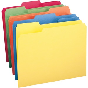 """Smead Colored Folders - Letter - 8 1/2"""" x 11"""" Sheet Size - 3/4"""" Expansion - 1/3 Tab Cut - Assorted Position Tab Location - 11 pt. Folder Thickness - Assorted - Recycled - 100"""