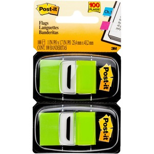 """Post-it® Flags, 1"""" Wide, Bright Green 2-pack - 100 x Bright Green - 1"""" x 1.75"""" - Rectangle - Unruled - Bright Green - Removable, Self-adhesive - 100 / Pack"""