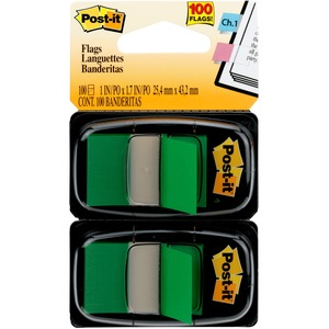 """Post-it® Flags, 1"""" Wide, Green 2-pack - 100 x Green - 1"""" x 1.75"""" - Rectangle - Unruled - Green - Removable - 100 / Pack"""