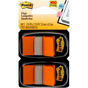 "Post-it® Flags, 1"" Wide, Orange 2-pack - 100 x Orange - 1"" x 1.75"" - Rectangle - Unruled - Orange - Removable, Tab - 100 / Pack"