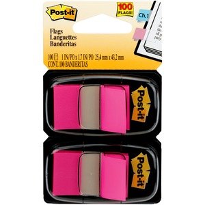 """Post-it® Flags, 1"""" Wide, Bright Pink 2-pack - 100 x Bright Pink - 1"""" x 1.75"""" - Rectangle - Unruled - Bright Pink - Removable, Self-adhesive - 100 / Pack"""