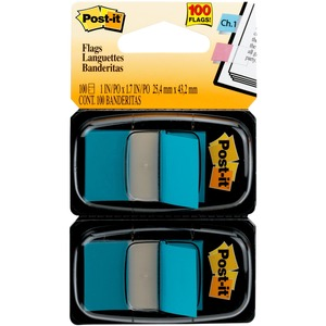 """Post-it® Flags, 1"""" Wide, Blue 2-pack - 100 x Blue - 1"""" x 1.75"""" - Rectangle - Unruled - Blue - Removable, Tab - 100 / Pack"""