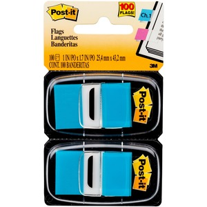 """Post-it® Flags, 1"""" Wide, Bright Blue 2-pack - 100 x Bright Blue - 1"""" x 1.75"""" - Rectangle - Bright Blue - Removable, Self-adhesive - 100 / Pack"""