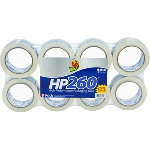 """Duck Brand HP260 Packing Tape - 1.88"""" Width x 60 yd Length - 3"""" Core - 3.10 mil - Non-yellowing - 8 / Pack - Clear"""
