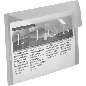 """Lion Weatherproof Poly Envelopes - Letter - 8 1/2"""" x 11"""" Sheet Size - 2 Pocket(s) - Poly - Clear - Recycled - 1 Each"""