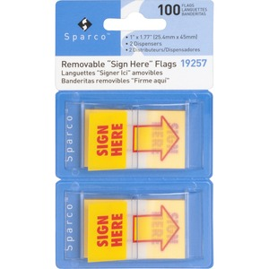 """Sparco Pop-up Sign Here Flags in Dispenser - 1"""" x 1.75"""" - Rectangle - """"SIGN HERE"""" - Yellow - Self-adhesive, Removable - 2 / Pack"""