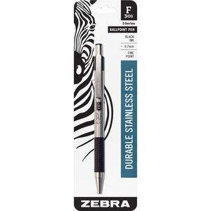 Zebra Pen F-301 Compact Retractable Ballpoint Pen - Fine Pen Point - 0.7 mm Pen Point Size - Refillable - Black - Stainless Steel Barrel - 1 Each