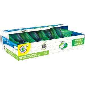 "Paper Mate Liquid Paper DryLine Correction Tape - 0.20"" Width x 39.33 ft Length - White TapeBlue Dispenser - Break Resistant, Non-refillable, Tear Resistant - 10 / Pack - Blue"