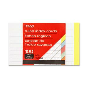 """Mead Ruled Assorted Color Index Cards - 100 Sheets - 3"""" x 5"""" - Buff, Blue, Orange, Cherry, Green Paper - 1 / Pack"""