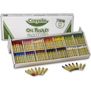 Crayola Classpack Oil Pastel - Blue, Brown, Green, Orange, Peach, Pink, Red, Violet, Yellow, Yellow Green, White, ... - 1 / Box