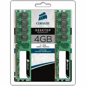 Corsair ValueSelect VS4GBKIT800D2 RAM Module - 4 GB 2 x 2 GB - DDR2 SDRAM - 800 MHz DDR2-800/PC2-6400 - 204-pin