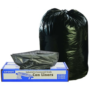 """Stout Recycled Content Trash Bags - 60 gal - 36"""" Width x 58"""" Length x 1.50 mil (38 Micron) Thickness - Brown - 100/Carton - Office, Industry, Home"""
