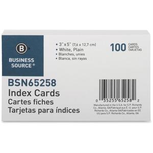 "Business Source Plain Index Cards - 5"" Width x 3"" Length - 100 / Pack"