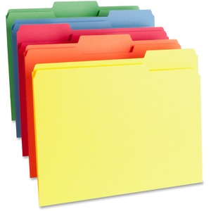 """Business Source 1-Ply Color-coding File Folders - Letter - 8 1/2"""" x 11"""" Sheet Size - 1/3 Tab Cut - Assorted Position Tab Location - 11 pt. Folder Thickness - Assorted - Recycl"""