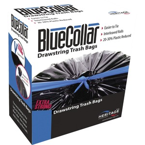 "BlueCollar Super Tough 30 Gal Trash Bags - 30 gal - 30"" Width x 34"" Length x 1 mil (25 Micron) Thickness - Black - 40/Box - Garbage"
