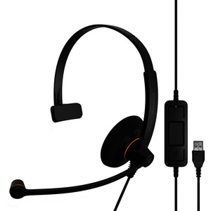Sennheiser SC 30 USB ML Wired Mono Headset - Over-the-head - Supra-aural - Black, Orange