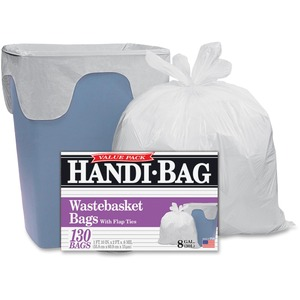 """Webster Handi-Bag Wastebasket Bags - Small Size - 8 gal - 22"""" Width x 24"""" Length - 0.60 mil (15 Micron) Thickness - White - Resin - 130/Box - Office Waste"""