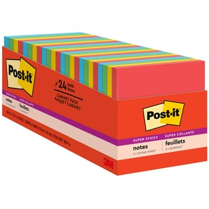 """Post-it® Super Sticky Notes, 3"""" x 3"""", Marrakesh Collection Cabinet Pack - 1680 x Electric Glow Assorted - 3"""" x 3"""" - Square - 70 Sheets per Pad - Unruled - Assorted - Paper - S"""