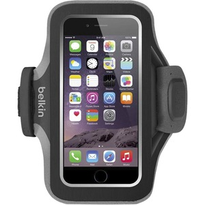 Belkin Slim-Fit Plus Carrying Case Armband for iPhone - Blacktop - Neoprene, Fabric - Armband