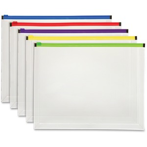 Pendaflex Color Zipper Poly Envelopes - Document - Zippered - Poly - 5 / Pack - Assorted