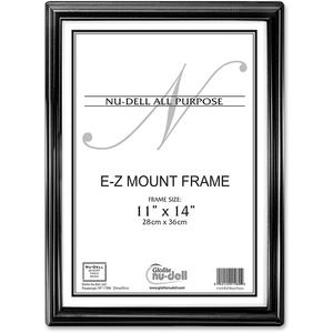 """Nu-Dell E-Z Mount Frames - 11"""" x 14"""" Frame Size - Rectangle - Wall Mountable - Horizontal, Vertical - Unbreakable - 1 Each - Plastic - Black, Silver"""