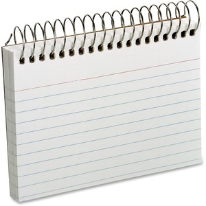 """Oxford Spiral Bound Ruled Index Cards - 50 Sheets - Front Ruling Surface - 5"""" x 3"""" - White Paper - Perforated - 50 / Each"""
