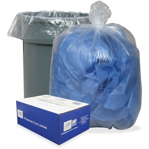 """Webster .8 mil Heavy-duty Low-density Liners - 60 gal - 38"""" Width x 58"""" Length x 0.80 mil (20 Micron) Thickness - Low Density - Clear, Translucent - 100/Carton - Can"""