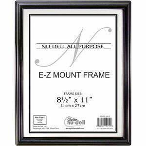 "Glolite Nu-dell NuDell E-Z Mount Frames - 8.50"" x 11"" Frame Size - Rectangle - Wall Mountable - Horizontal, Vertical - Break Resistant - 1 Each - Plastic, Plastic - Black, Sil"