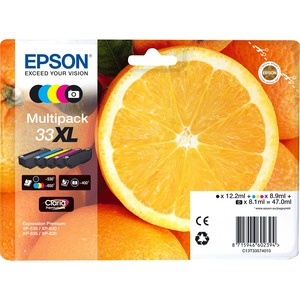 Epson Claria 33XL Ink Cartridge - Yellow, Cyan, Magenta, Black, Photo Black - Inkjet - 5 / Blister Pack