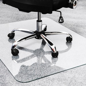 Cleartex Glaciermat Glass Chair Mat Hard Floor Home Office Carpet 53 Length X 40 Width Rectangle Glass Clear Servmart