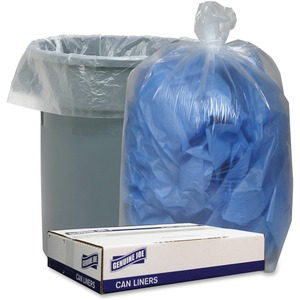 """Genuine Joe Clear Low Density 1.4mil Liners - 33"""" Width x 39"""" Length - 1.40 mil (36 Micron) Thickness - Low Density - Clear"""