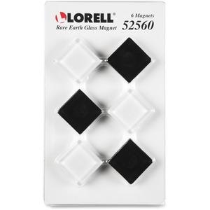 Lorell Square Glass Cap Rare Earth Magnets - Square - 6 / Pack - Black, White