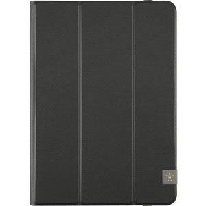 Belkin Tri-Fold Carrying Case Folio for 25.4 cm 10inch iPad Air, iPad Air 2, Tablet - Blacktop - Scratch Resistant Interior - Fabric