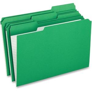 "Pendaflex Grid Pattern Color Legal File Folders - Legal - 8 1/2"" x 14"" Sheet Size - 1/3 Tab Cut - Top Tab Location - 11 pt. Folder Thickness - Stock - Green - 100 / Box"