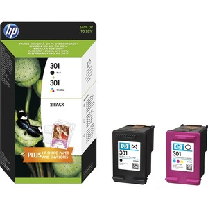 HP 301 Ink Cartridge - Black, Cyan, Magenta, Yellow - Inkjet - High Yield - 190 Page Black, 165 Page Tri-colour - 2 / Pack
