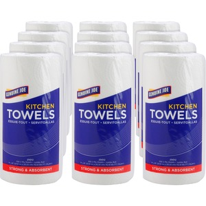 """Genuine Joe 250-sheet Roll Kitchen Towels - 2 Ply - 8"""" x 11"""" - 250 Sheets/Roll - White - Paper - Perforated, Chlorine-free - For Kitchen - 12 / Carton"""
