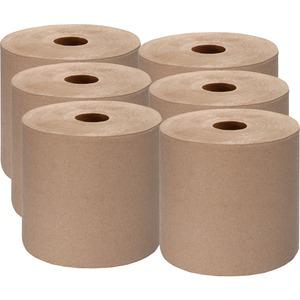 "Genuine Joe Embossed Hardwound Roll Towels - 7.88"" x 1000 ft - Kraft - Absorbent, Embossed, Designed - For Restroom - 6 / Carton"