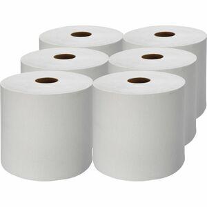 "Genuine Joe Hardwound Roll Paper Towels - 7.88"" x 1000 ft - White - Absorbent, Embossed, Designed - For Restroom - 6 / Carton"