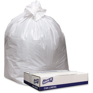 """Genuine Joe Extra Heavy-duty White Trash Can Liners - 40"""" Width x 46"""" Length x 0.90 mil (23 Micron) Thickness - Low Density - White - 100/Carton - Industrial Trash"""