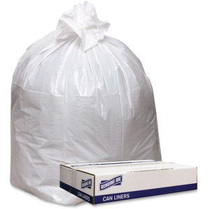 """Genuine Joe Extra Heavy-duty White Trash Can Liners - 43"""" Width x 47"""" Length x 0.90 mil (23 Micron) Thickness - Low Density - White - 100/Carton - Industrial Trash"""