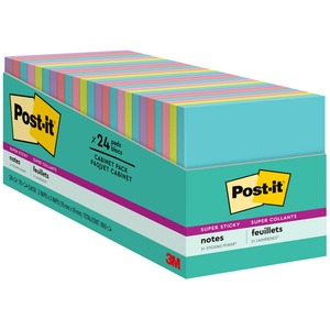 """Post-it® Super Sticky Notes, 3"""" x 3"""" Miami Collection - 1680 x Multicolor - 3"""" x 3"""" - Rectangle - 70 Sheets per Pad - Multicolor - Paper - Self-adhesive, Recyclable - 24 / Pac"""