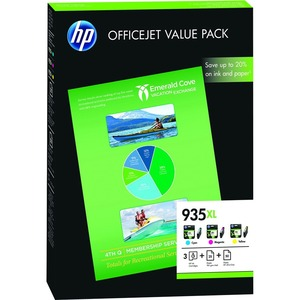 HP 935XL Ink Cartridge/Paper Kit - Cyan, Magenta, Yellow