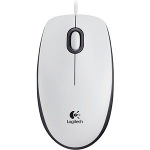 Logitech M100 Mouse - Optical Wired - White